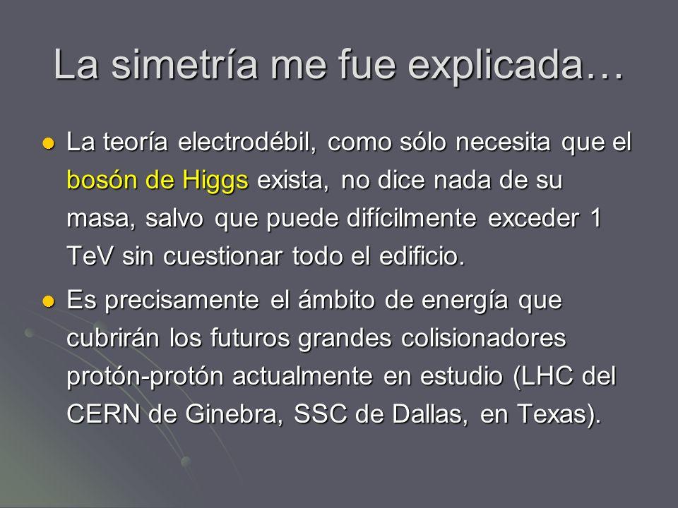 La simetría me fue explicada… La teoría electrodébil, como sólo necesita que el bosón de Higgs exista, no dice nada de su masa, salvo que puede difíci