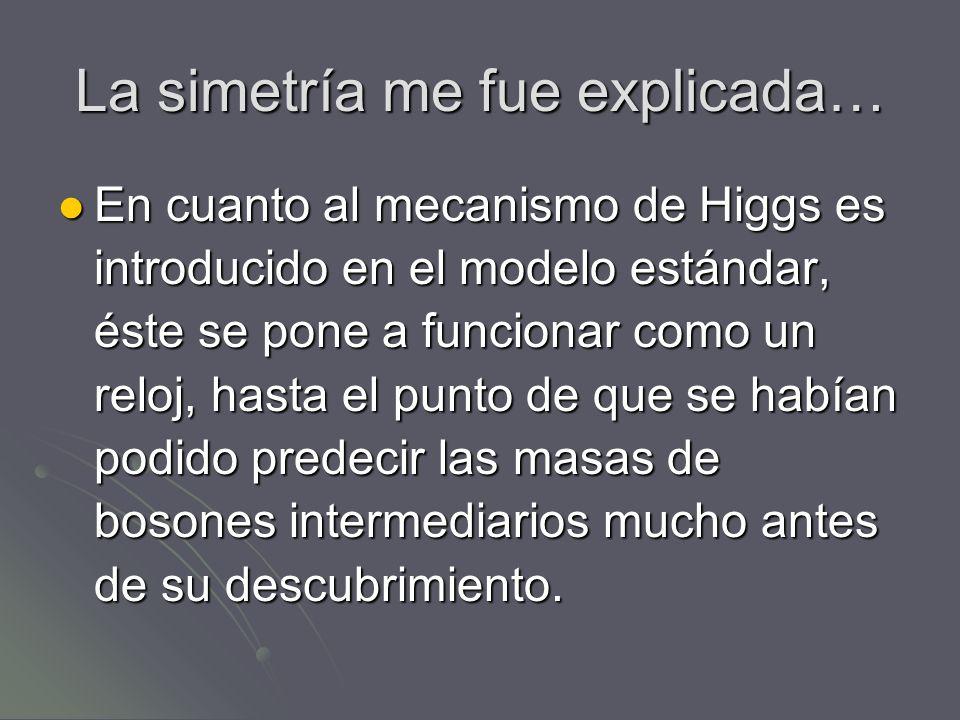 La simetría me fue explicada… En cuanto al mecanismo de Higgs es introducido en el modelo estándar, éste se pone a funcionar como un reloj, hasta el p