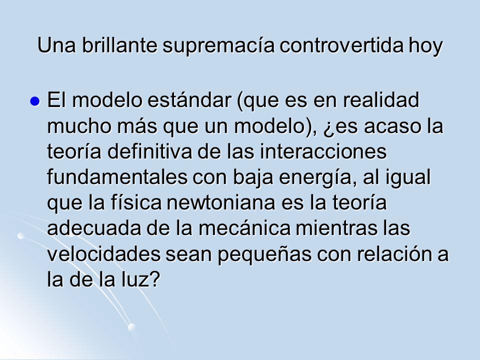 Una brillante supremacía controvertida hoy El modelo estándar (que es en realidad mucho más que un modelo), ¿es acaso la teoría definitiva de las inte