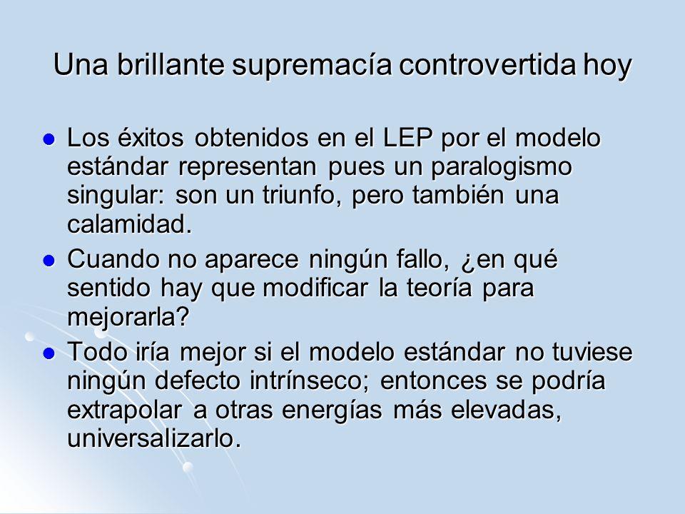 Una brillante supremacía controvertida hoy Los éxitos obtenidos en el LEP por el modelo estándar representan pues un paralogismo singular: son un triu
