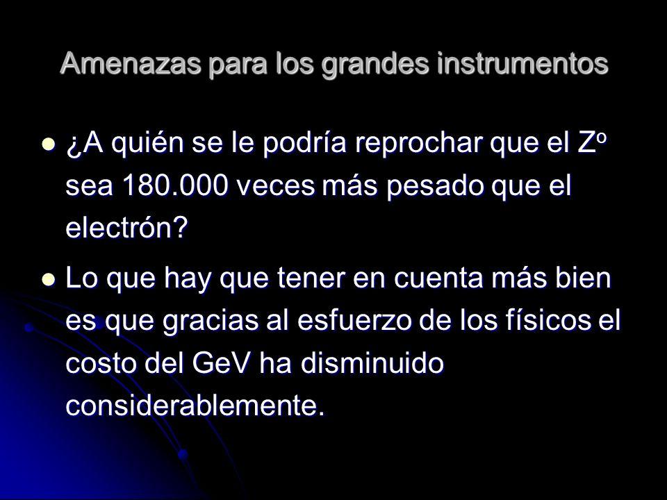 Amenazas para los grandes instrumentos ¿A quién se le podría reprochar que el Z o sea 180.000 veces más pesado que el electrón? ¿A quién se le podría