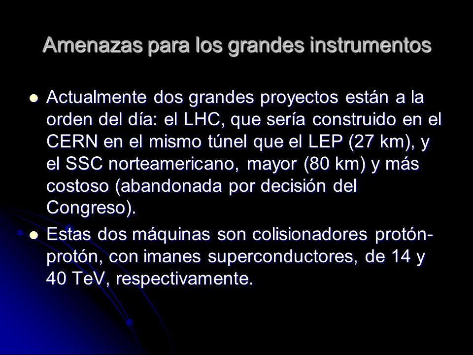 Amenazas para los grandes instrumentos Actualmente dos grandes proyectos están a la orden del día: el LHC, que sería construido en el CERN en el mismo