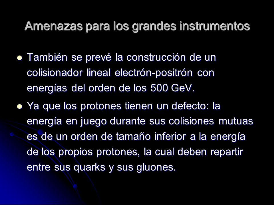 Amenazas para los grandes instrumentos También se prevé la construcción de un colisionador lineal electrón-positrón con energías del orden de los 500