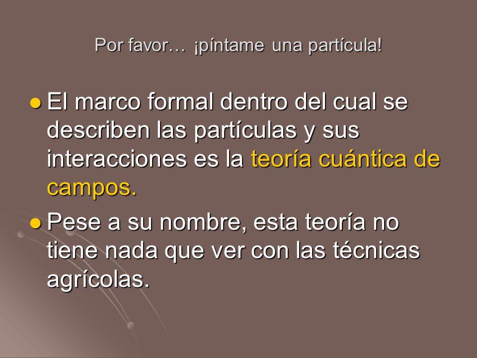 Por favor… ¡píntame una partícula! El marco formal dentro del cual se describen las partículas y sus interacciones es la teoría cuántica de campos. El