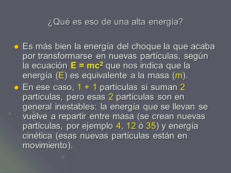 ¿Qué es eso de una alta energía? Es más bien la energía del choque la que acaba por transformarse en nuevas partículas, según la ecuación E = mc 2 que