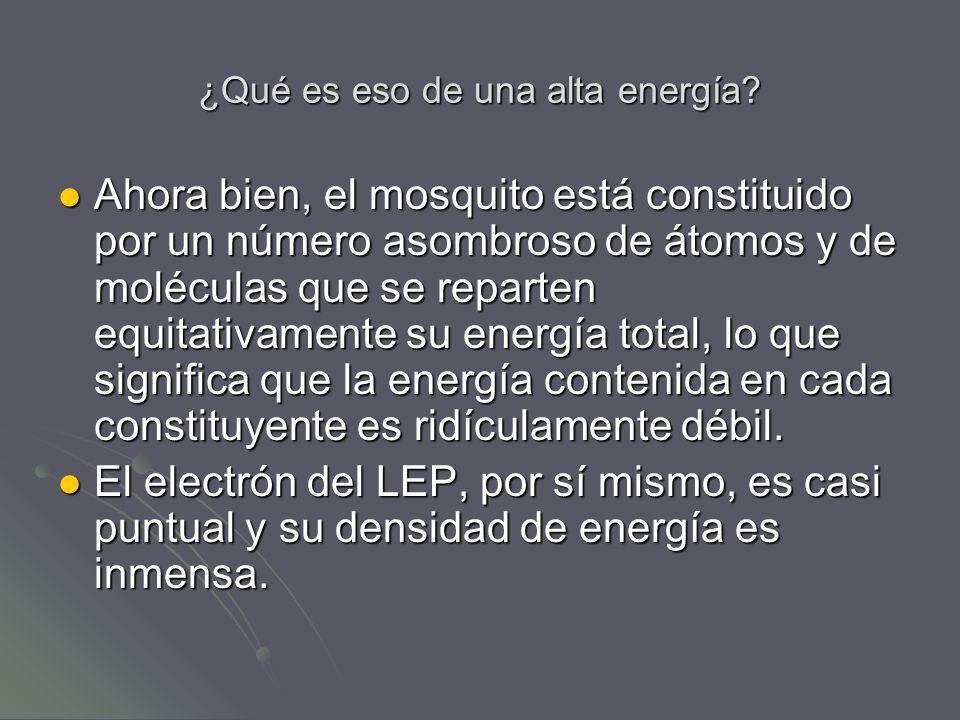 ¿Qué es eso de una alta energía? Ahora bien, el mosquito está constituido por un número asombroso de átomos y de moléculas que se reparten equitativam