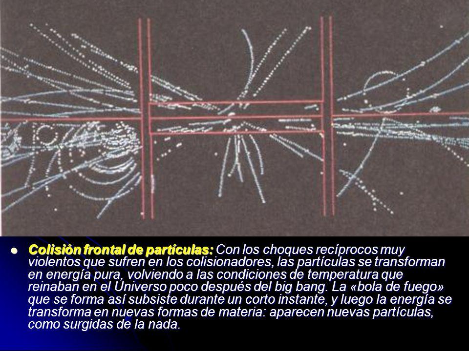 Colisión frontal de partículas: Con los choques recíprocos muy violentos que sufren en los colisionadores, las partículas se transforman en energía pu