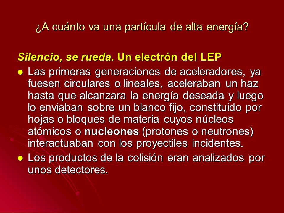 ¿A cuánto va una partícula de alta energía? Silencio, se rueda. Un electrón del LEP Las primeras generaciones de aceleradores, ya fuesen circulares o