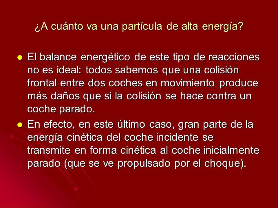 ¿A cuánto va una partícula de alta energía? El balance energético de este tipo de reacciones no es ideal: todos sabemos que una colisión frontal entre