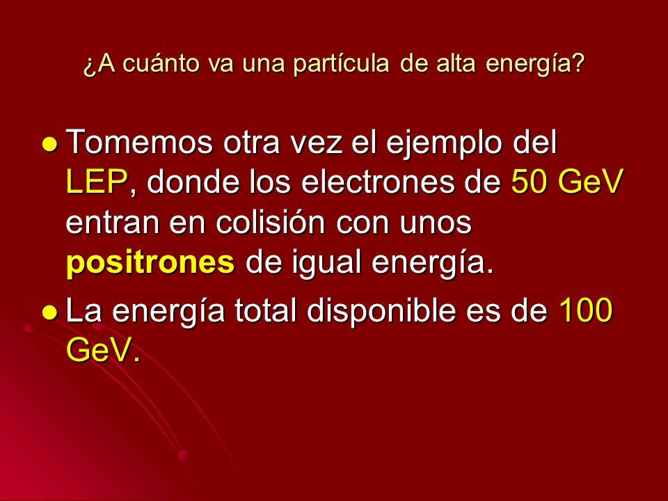 ¿A cuánto va una partícula de alta energía? Tomemos otra vez el ejemplo del LEP, donde los electrones de 50 GeV entran en colisión con unos positrones