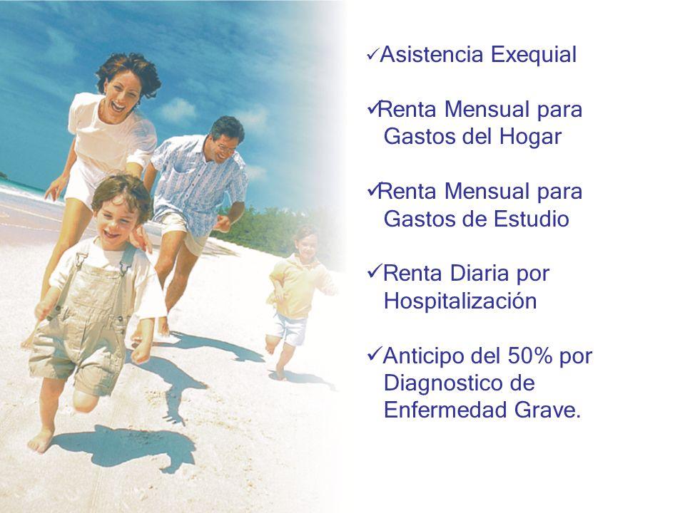 Asistencia Exequial Renta Mensual para Gastos del Hogar Renta Mensual para Gastos de Estudio Renta Diaria por Hospitalización Anticipo del 50% por Diagnostico de Enfermedad Grave.