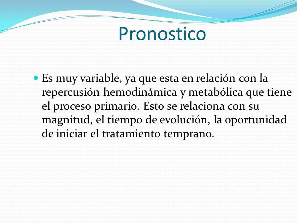 Pronostico Es muy variable, ya que esta en relación con la repercusión hemodinámica y metabólica que tiene el proceso primario.