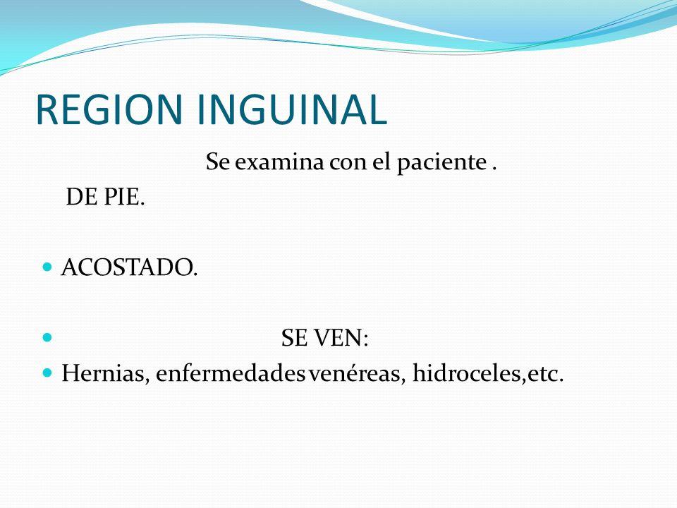 REGION INGUINAL Se examina con el paciente.DE PIE.