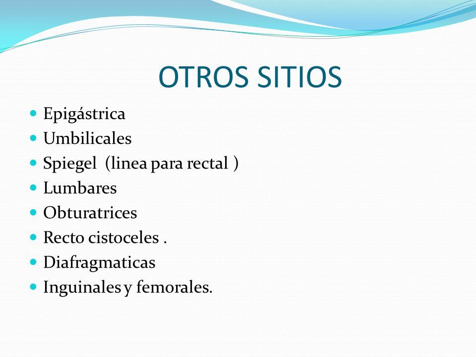 OTROS SITIOS Epigástrica Umbilicales Spiegel (linea para rectal ) Lumbares Obturatrices Recto cistoceles.