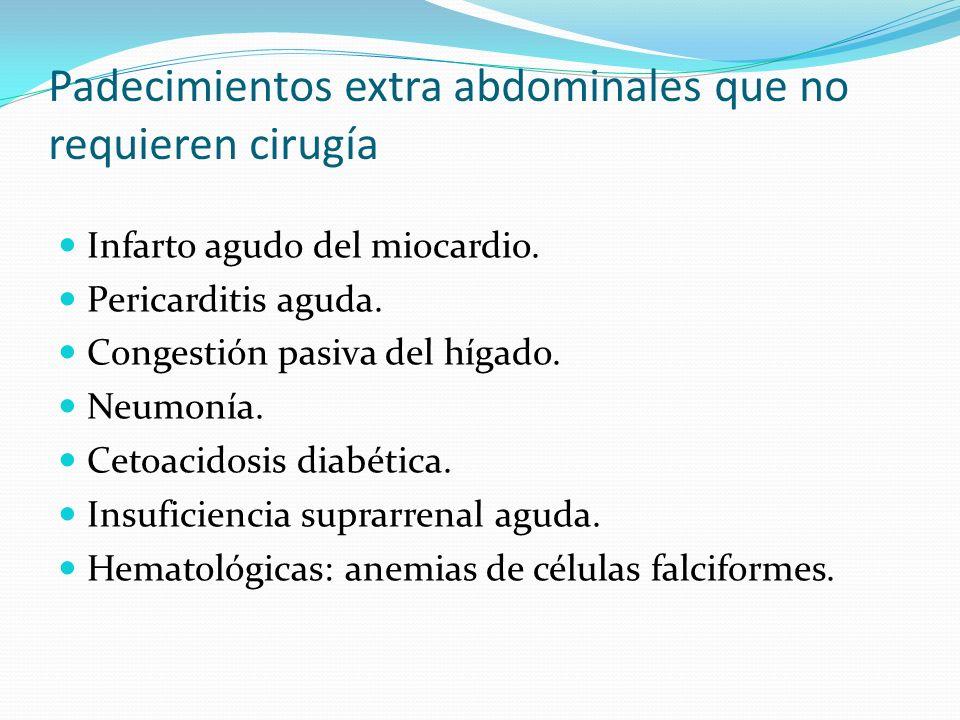 Padecimientos extra abdominales que no requieren cirugía Infarto agudo del miocardio.