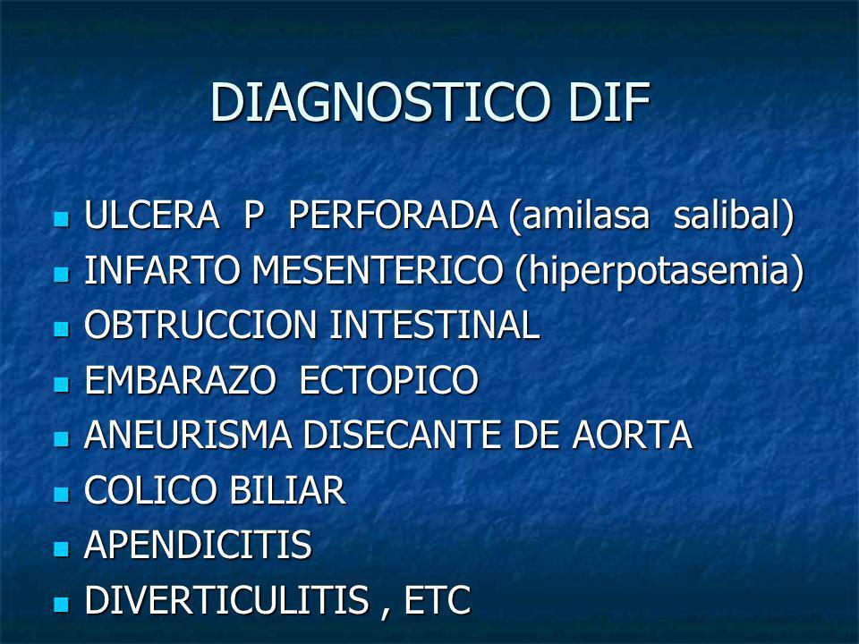 DIAGNOSTICO DIF ULCERA P PERFORADA (amilasa salibal) ULCERA P PERFORADA (amilasa salibal) INFARTO MESENTERICO (hiperpotasemia) INFARTO MESENTERICO (hi