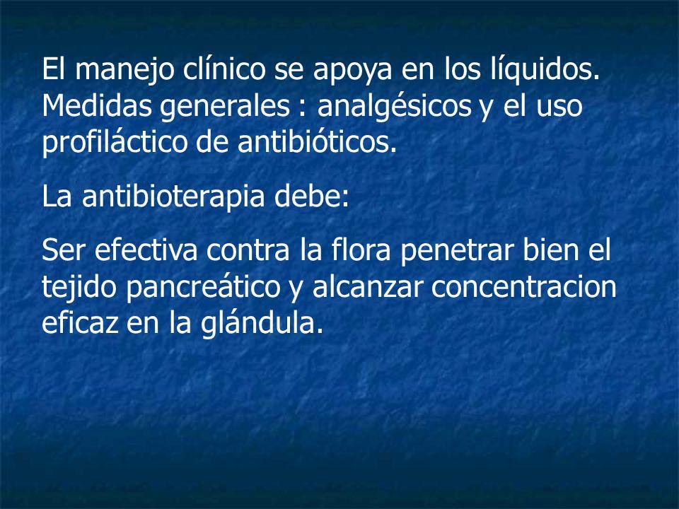 El manejo clínico se apoya en los líquidos. Medidas generales : analgésicos y el uso profiláctico de antibióticos. La antibioterapia debe: Ser efectiv