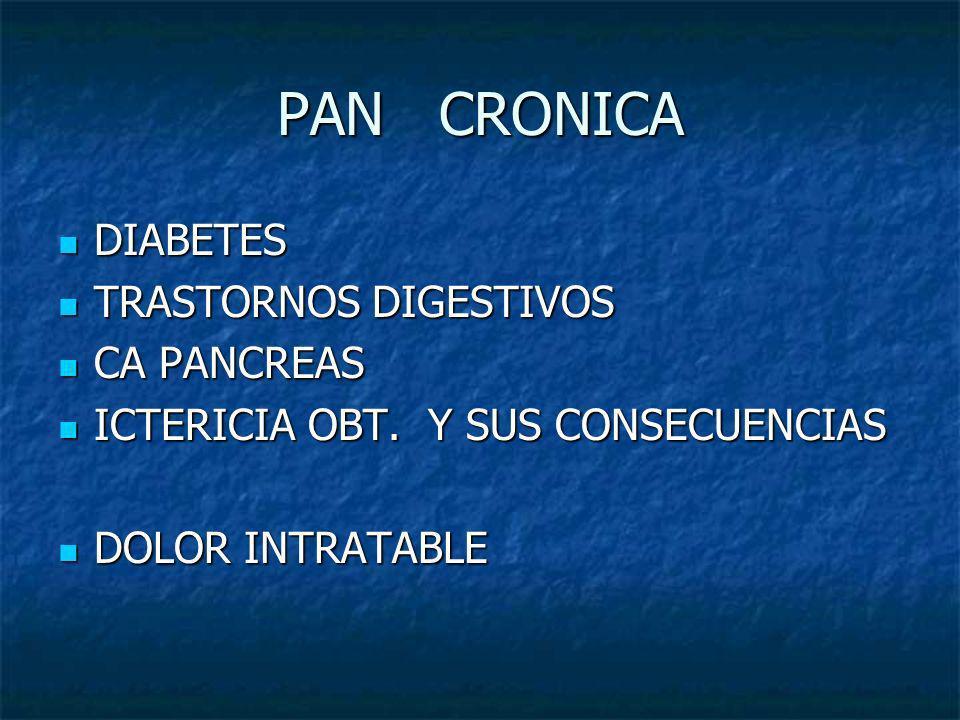 PAN CRONICA DIABETES DIABETES TRASTORNOS DIGESTIVOS TRASTORNOS DIGESTIVOS CA PANCREAS CA PANCREAS ICTERICIA OBT. Y SUS CONSECUENCIAS ICTERICIA OBT. Y