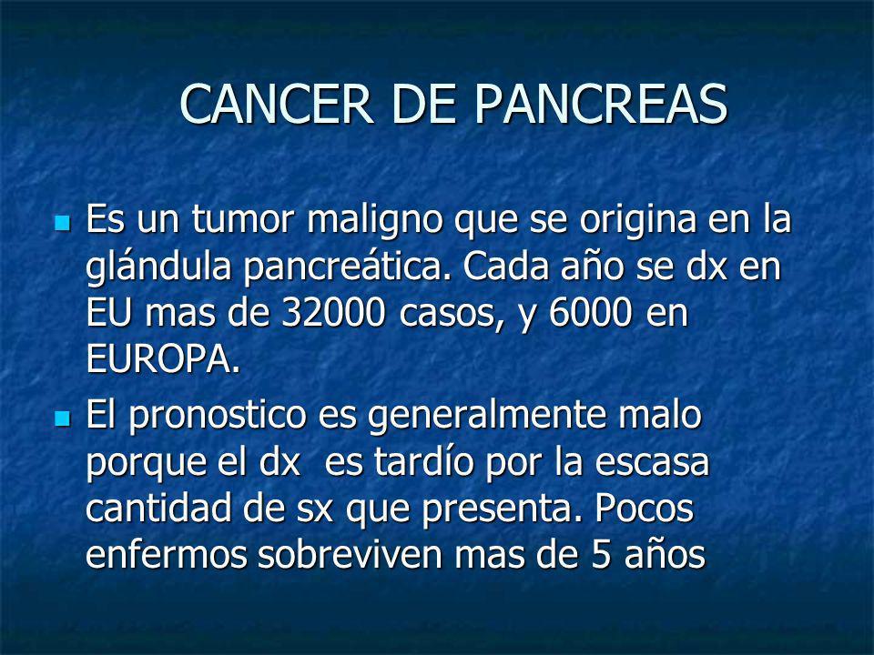 CANCER DE PANCREAS CANCER DE PANCREAS Es un tumor maligno que se origina en la glándula pancreática. Cada año se dx en EU mas de 32000 casos, y 6000 e