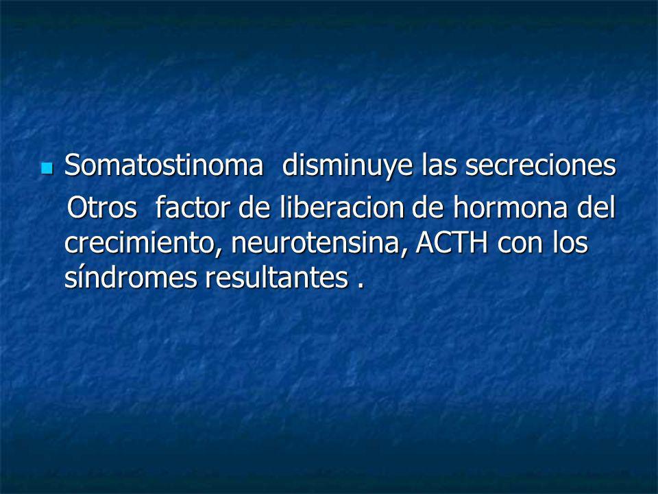 Somatostinoma disminuye las secreciones Somatostinoma disminuye las secreciones Otros factor de liberacion de hormona del crecimiento, neurotensina, A