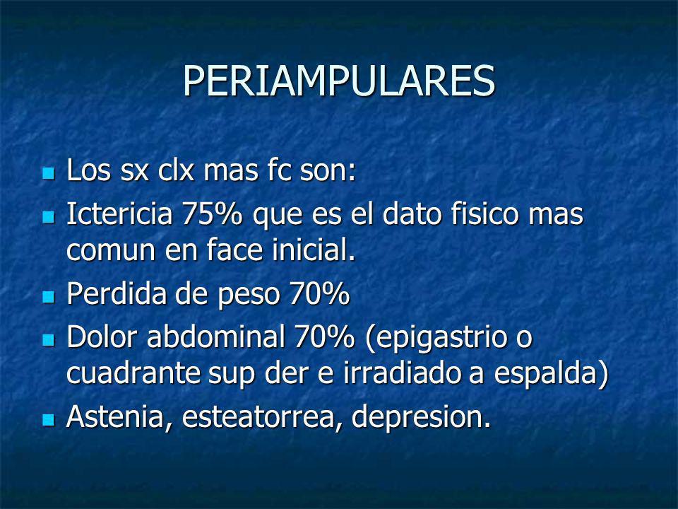 PERIAMPULARES Los sx clx mas fc son: Los sx clx mas fc son: Ictericia 75% que es el dato fisico mas comun en face inicial. Ictericia 75% que es el dat
