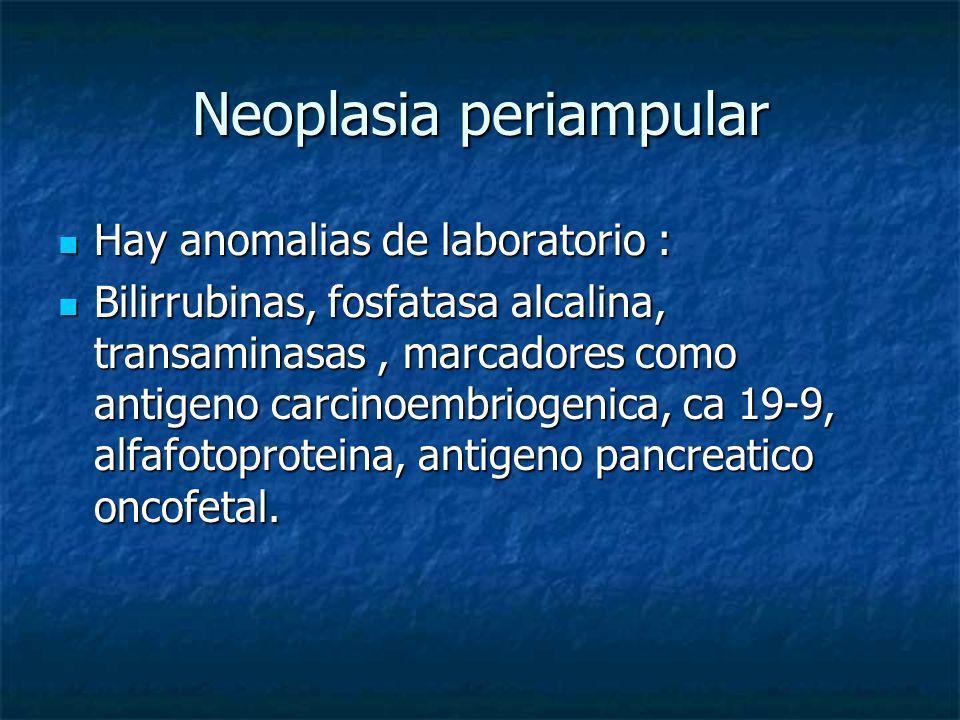 Neoplasia periampular Hay anomalias de laboratorio : Hay anomalias de laboratorio : Bilirrubinas, fosfatasa alcalina, transaminasas, marcadores como a