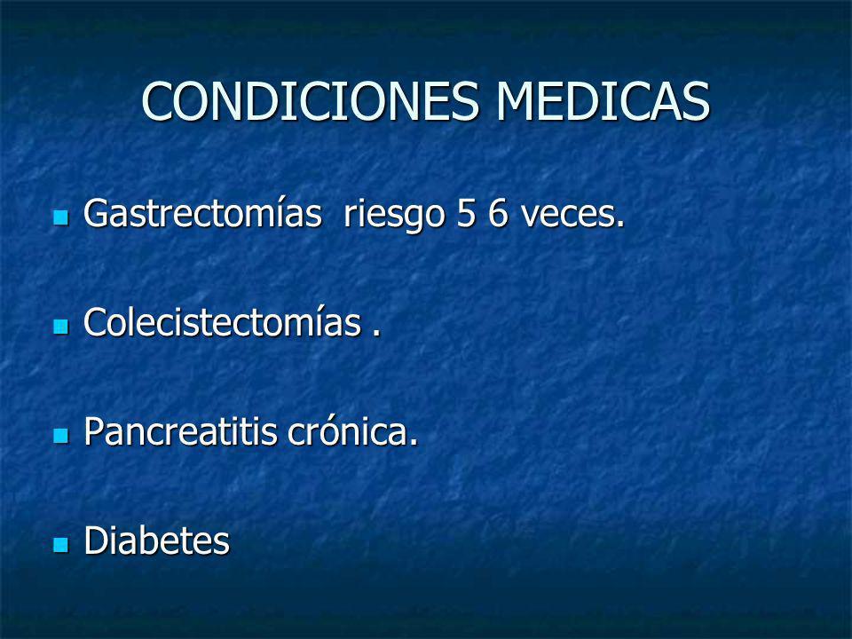 CONDICIONES MEDICAS Gastrectomías riesgo 5 6 veces. Gastrectomías riesgo 5 6 veces. Colecistectomías. Colecistectomías. Pancreatitis crónica. Pancreat