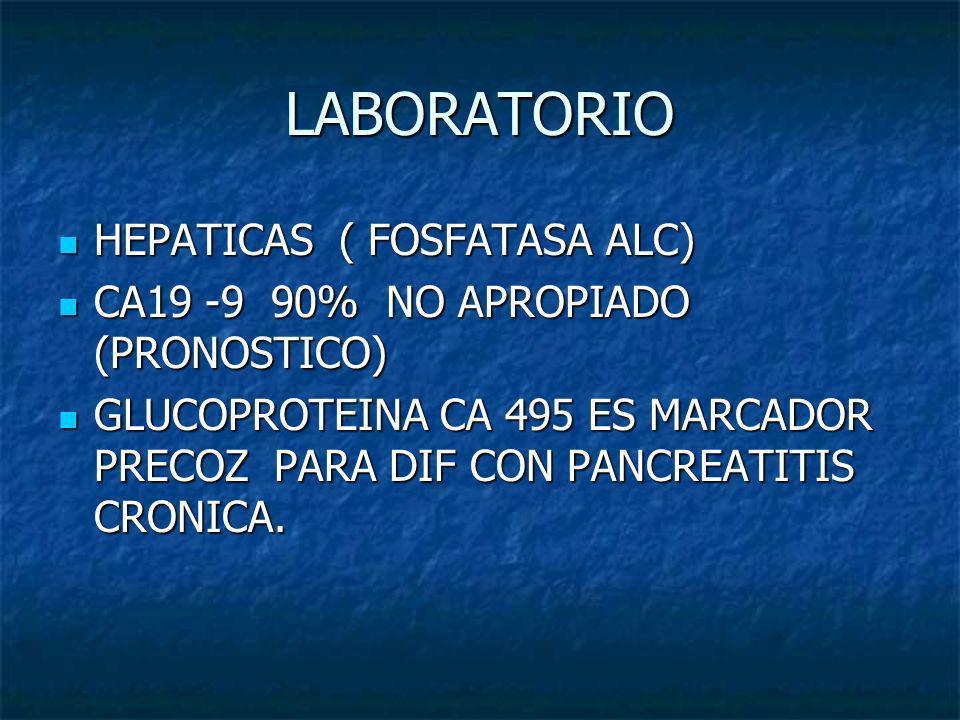 LABORATORIO HEPATICAS ( FOSFATASA ALC) HEPATICAS ( FOSFATASA ALC) CA19 -9 90% NO APROPIADO (PRONOSTICO) CA19 -9 90% NO APROPIADO (PRONOSTICO) GLUCOPRO