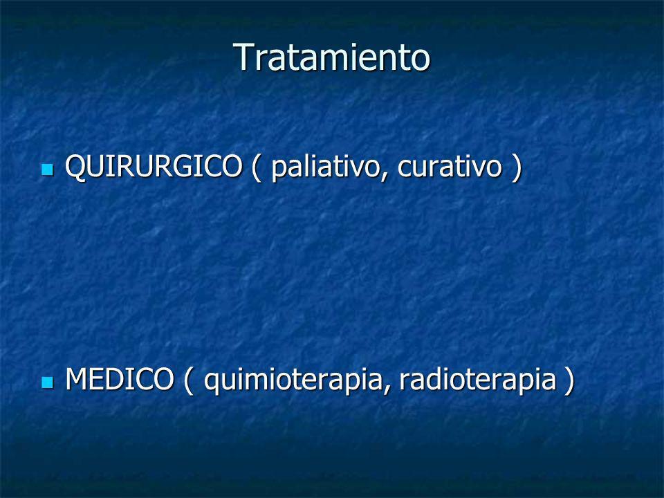 Tratamiento QUIRURGICO ( paliativo, curativo ) QUIRURGICO ( paliativo, curativo ) MEDICO ( quimioterapia, radioterapia ) MEDICO ( quimioterapia, radio