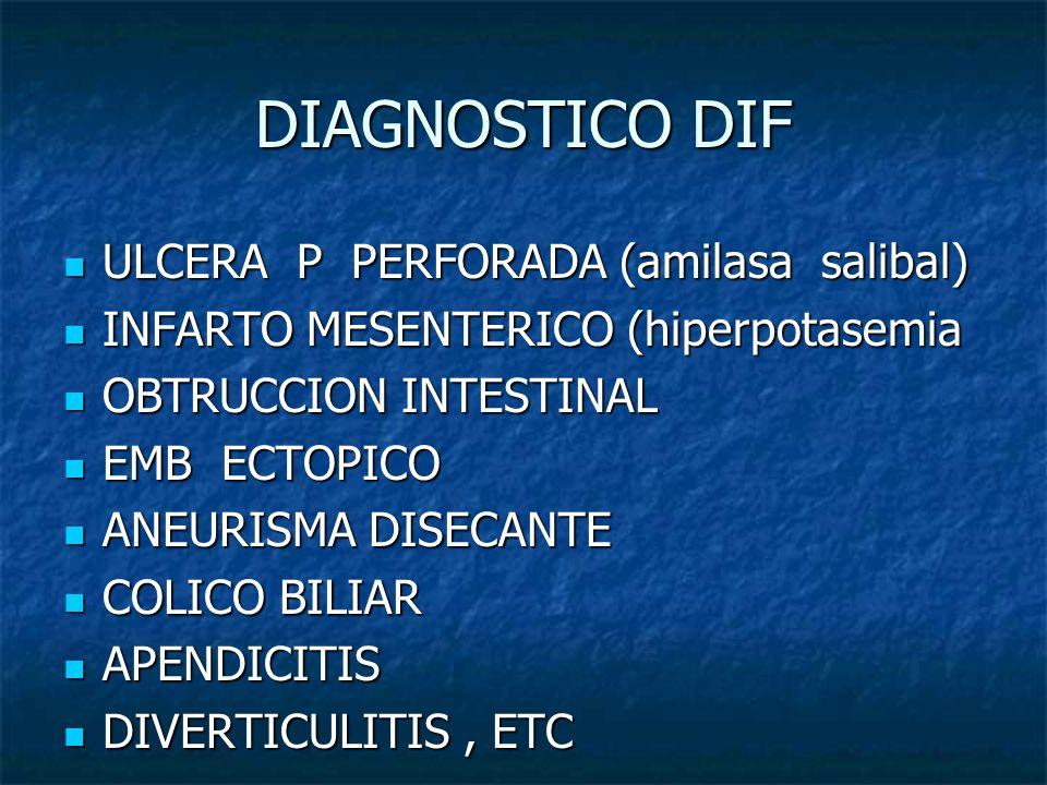DIAGNOSTICO DIF ULCERA P PERFORADA (amilasa salibal) ULCERA P PERFORADA (amilasa salibal) INFARTO MESENTERICO (hiperpotasemia INFARTO MESENTERICO (hip