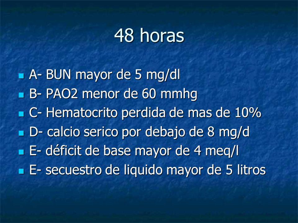 48 horas A- BUN mayor de 5 mg/dl A- BUN mayor de 5 mg/dl B- PAO2 menor de 60 mmhg B- PAO2 menor de 60 mmhg C- Hematocrito perdida de mas de 10% C- Hem