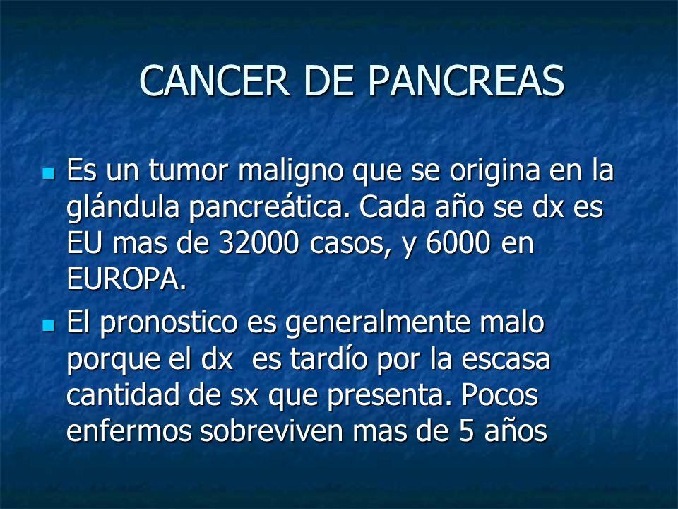 CANCER DE PANCREAS CANCER DE PANCREAS Es un tumor maligno que se origina en la glándula pancreática. Cada año se dx es EU mas de 32000 casos, y 6000 e