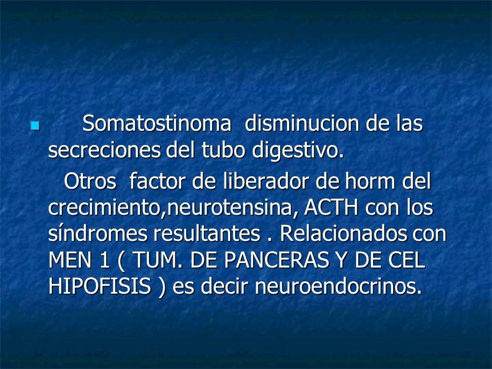 Somatostinoma disminucion de las secreciones del tubo digestivo. Somatostinoma disminucion de las secreciones del tubo digestivo. Otros factor de libe
