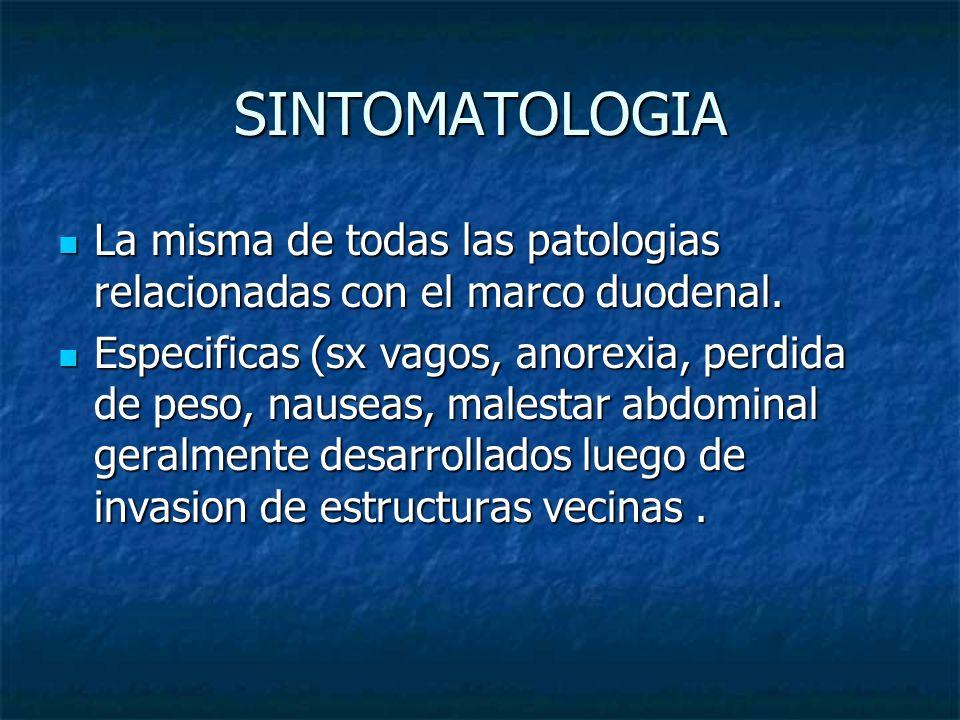 SINTOMATOLOGIA La misma de todas las patologias relacionadas con el marco duodenal. La misma de todas las patologias relacionadas con el marco duodena