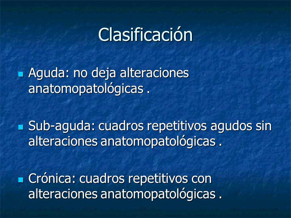 Clasificación Aguda: no deja alteraciones anatomopatológicas. Aguda: no deja alteraciones anatomopatológicas. Sub-aguda: cuadros repetitivos agudos si
