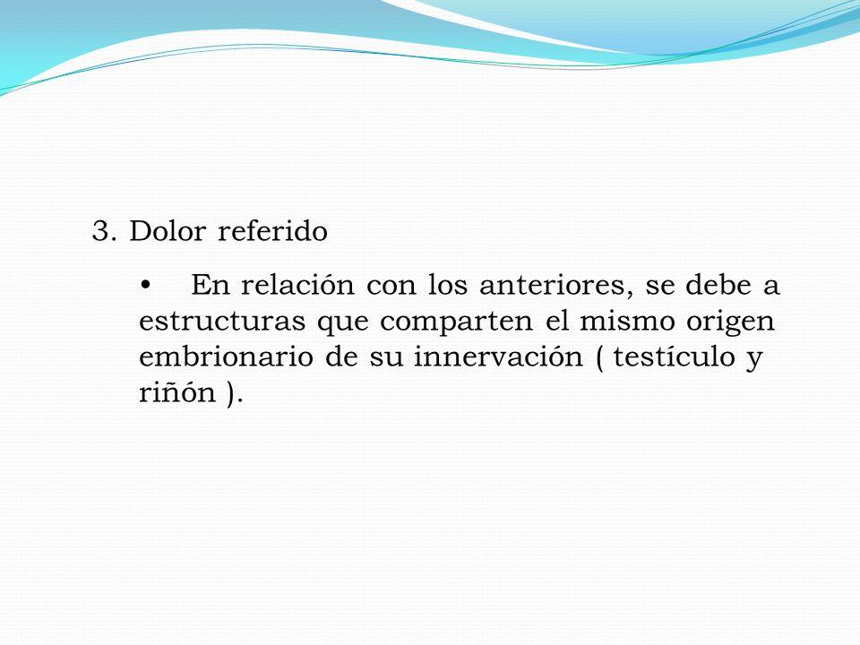 3. Dolor referido En relación con los anteriores, se debe a estructuras que comparten el mismo origen embrionario de su innervación ( testículo y riñó