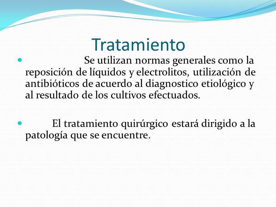 Tratamiento Se utilizan normas generales como la reposición de líquidos y electrolitos, utilización de antibióticos de acuerdo al diagnostico etiológi
