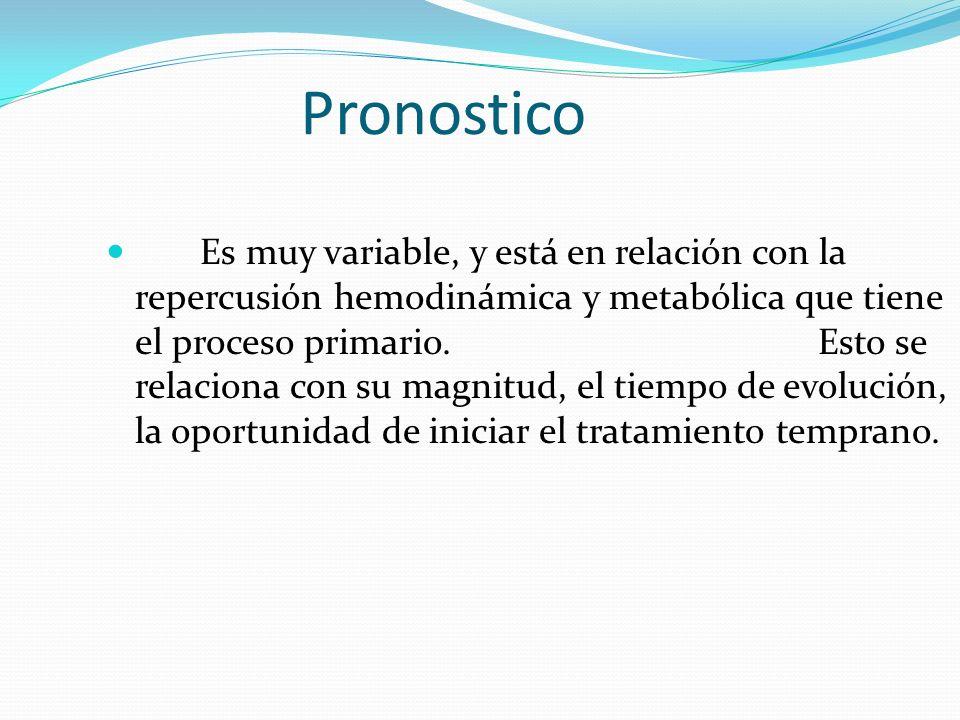 Pronostico Es muy variable, y está en relación con la repercusión hemodinámica y metabólica que tiene el proceso primario. Esto se relaciona con su ma