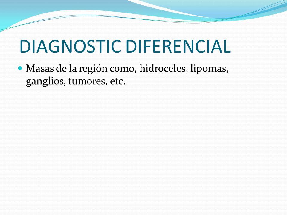 DIAGNOSTIC DIFERENCIAL Masas de la región como, hidroceles, lipomas, ganglios, tumores, etc.