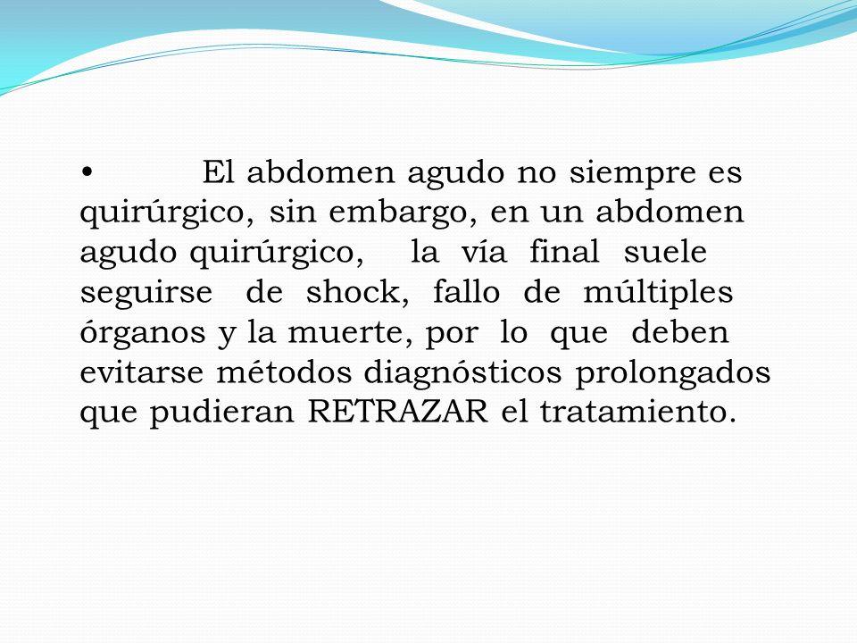 El abdomen agudo no siempre es quirúrgico, sin embargo, en un abdomen agudo quirúrgico, la vía final suele seguirse de shock, fallo de múltiples órgan
