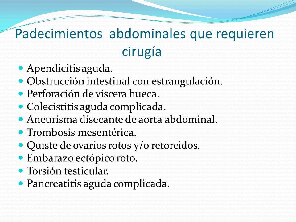 Padecimientos abdominales que requieren cirugía Apendicitis aguda. Obstrucción intestinal con estrangulación. Perforación de víscera hueca. Colecistit
