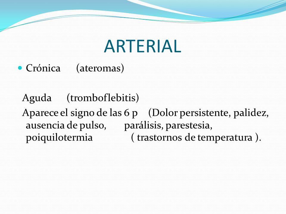 ARTERIAL Crónica (ateromas) Aguda (tromboflebitis) Aparece el signo de las 6 p (Dolor persistente, palidez, ausencia de pulso, parálisis, parestesia,