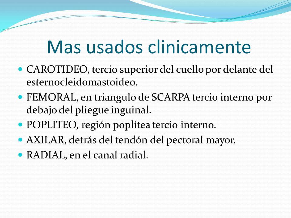 Mas usados clinicamente CAROTIDEO, tercio superior del cuello por delante del esternocleidomastoideo. FEMORAL, en triangulo de SCARPA tercio interno p