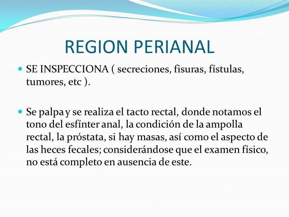 REGION PERIANAL SE INSPECCIONA ( secreciones, fisuras, fístulas, tumores, etc ). Se palpa y se realiza el tacto rectal, donde notamos el tono del esfí