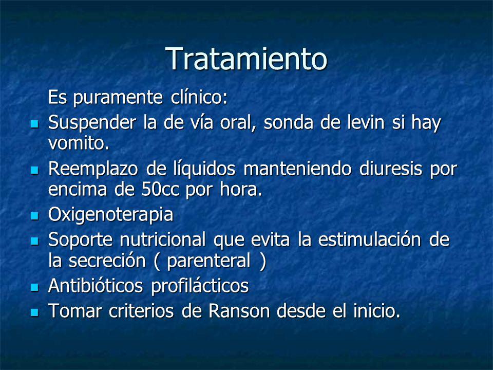 Tratamiento Es puramente clínico: Es puramente clínico: Suspender la de vía oral, sonda de levin si hay vomito. Suspender la de vía oral, sonda de lev