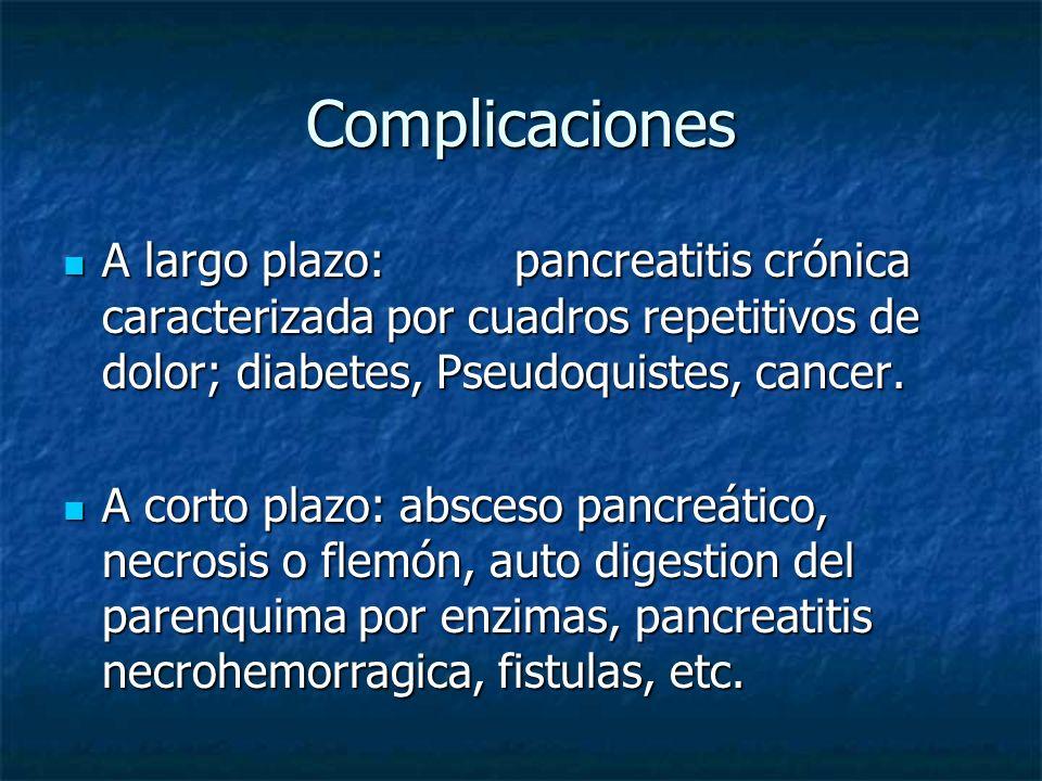 Complicaciones A largo plazo: pancreatitis crónica caracterizada por cuadros repetitivos de dolor; diabetes, Pseudoquistes, cancer. A largo plazo: pan