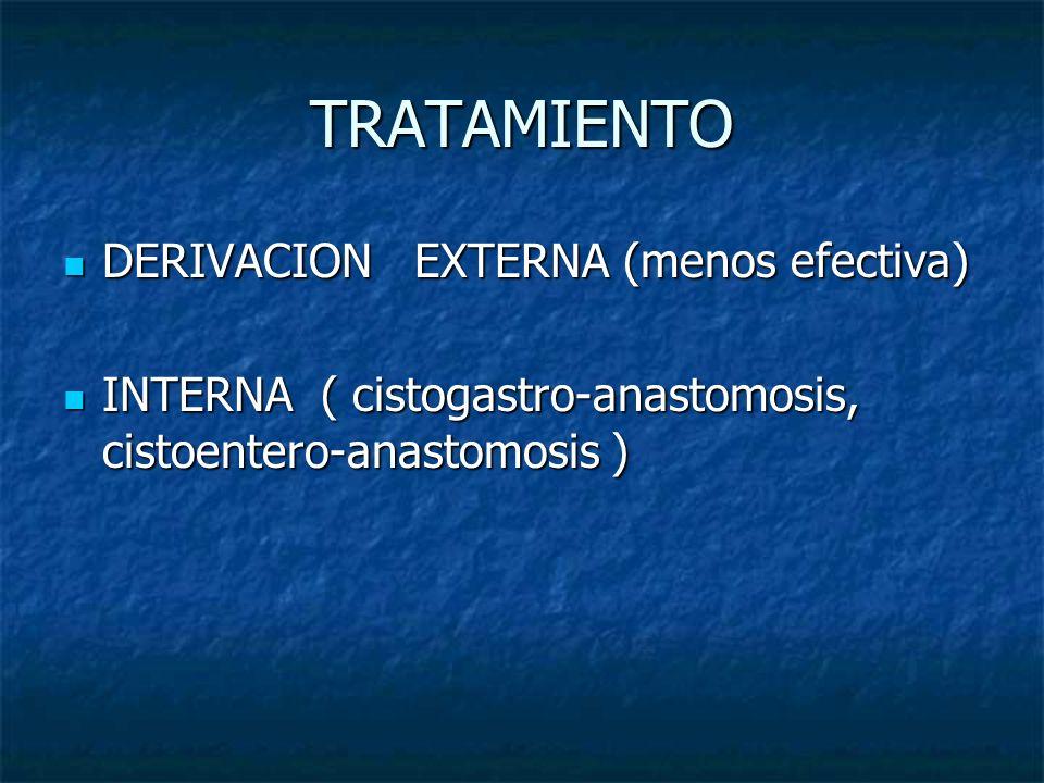 TRATAMIENTO DERIVACION EXTERNA (menos efectiva) DERIVACION EXTERNA (menos efectiva) INTERNA ( cistogastro-anastomosis, cistoentero-anastomosis ) INTER