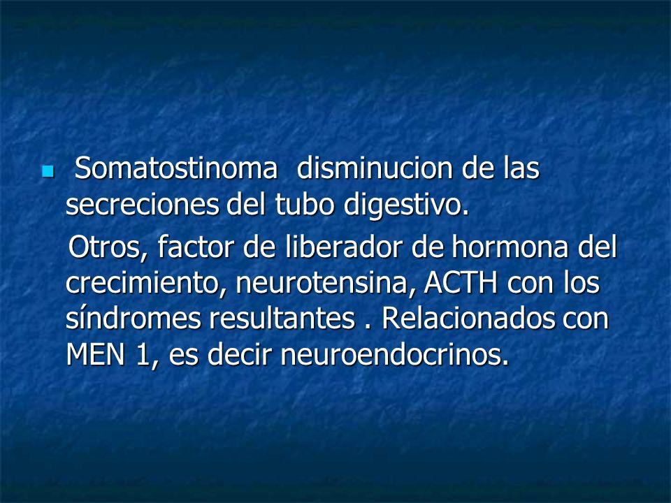 Somatostinoma disminucion de las secreciones del tubo digestivo. Somatostinoma disminucion de las secreciones del tubo digestivo. Otros, factor de lib
