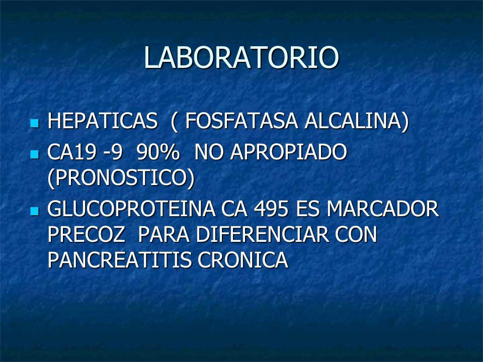 LABORATORIO HEPATICAS ( FOSFATASA ALCALINA) HEPATICAS ( FOSFATASA ALCALINA) CA19 -9 90% NO APROPIADO (PRONOSTICO) CA19 -9 90% NO APROPIADO (PRONOSTICO