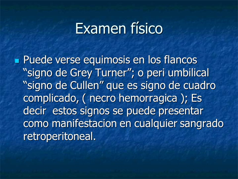 DIAGNOSTICO DIF ULCERA P PERFORADA (amilasa salibal) ULCERA P PERFORADA (amilasa salibal) INFARTO MESENTERICO (hiperpotasemia) INFARTO MESENTERICO (hiperpotasemia) OBTRUCCION INTESTINAL OBTRUCCION INTESTINAL EMBARAZO ECTOPICO EMBARAZO ECTOPICO ANEURISMA DISECANTE DE AORTA ANEURISMA DISECANTE DE AORTA COLICO BILIAR COLICO BILIAR APENDICITIS APENDICITIS DIVERTICULITIS, ETC DIVERTICULITIS, ETC